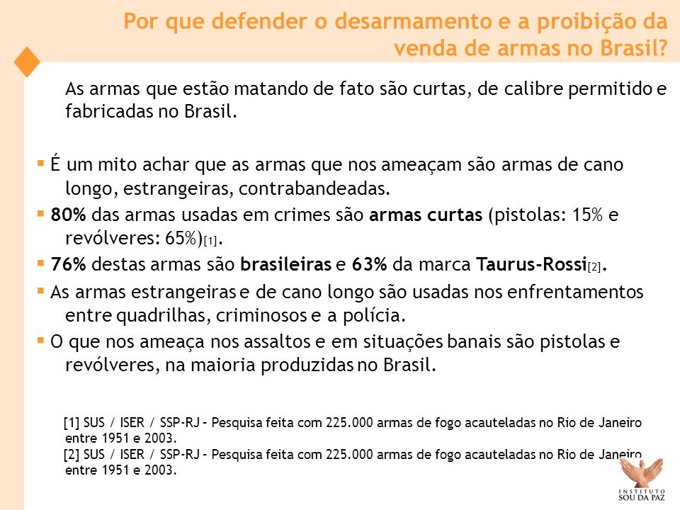 ▪ 76% destas armas são brasileiras e 63% da marca Taurus-Rossi[2].